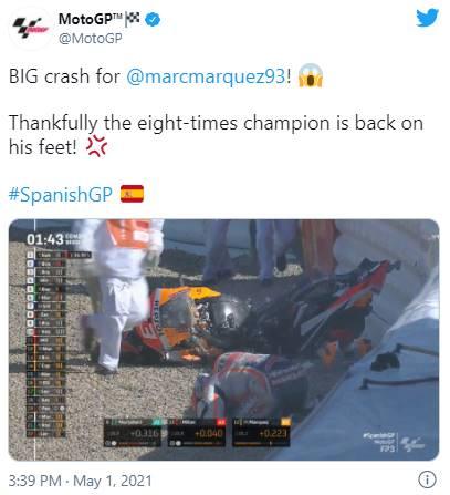 Ajaib! Marc Marquez Lolos Dari Cidera Fatal Setelah Kecelakaan Mengerikan di FP3 Jerez 2021