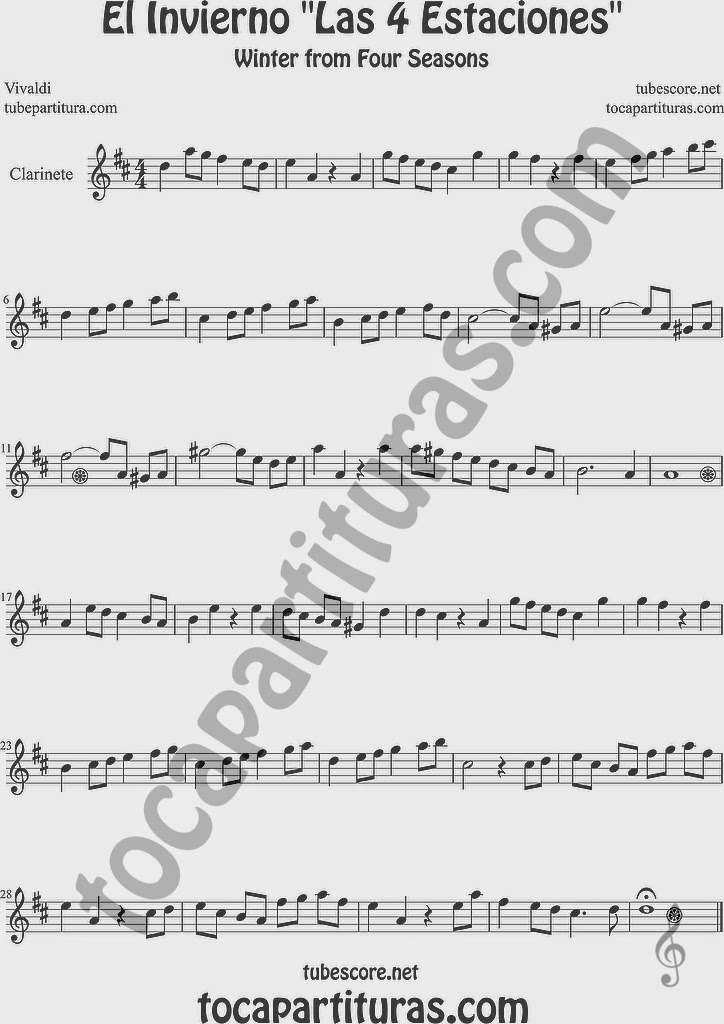 El Invierno Partitura de Clarinete Sheet Music for Clarinet Music Score Easy Winter From the Four Seasons