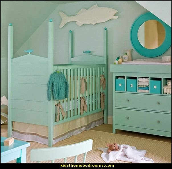 under the sea baby bedroom decorating ideas - ocean theme baby bedroom ideas - under the sea nursery decorating - under the sea wall murals - ocean wall decal stickers - fish theme - beach theme - mermaid theme