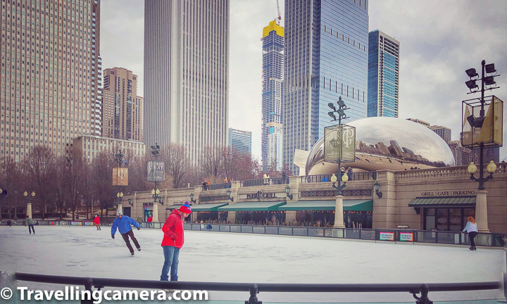 Above photograph shows the ice skating ring which is just in front of the Millenium Park of Chicago.     Millennium Park is a public park located in the Loop community area of Chicago in Illinois. Apparently this park was originally intended to celebrate the third millennium and is a prominent civic center near the city's Lake Michigan shoreline.