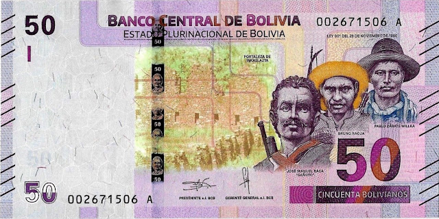 Bolivia Currency 50 Bolivianos banknote 2018 National Heroes