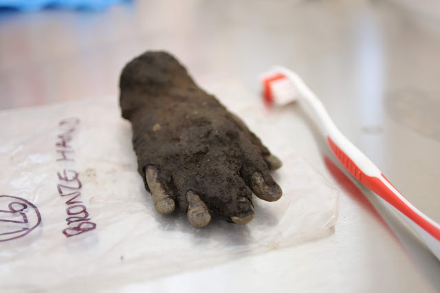 Bronze hand attributed to Roman God Jupiter Dolichenus unearthed at Vindolanda