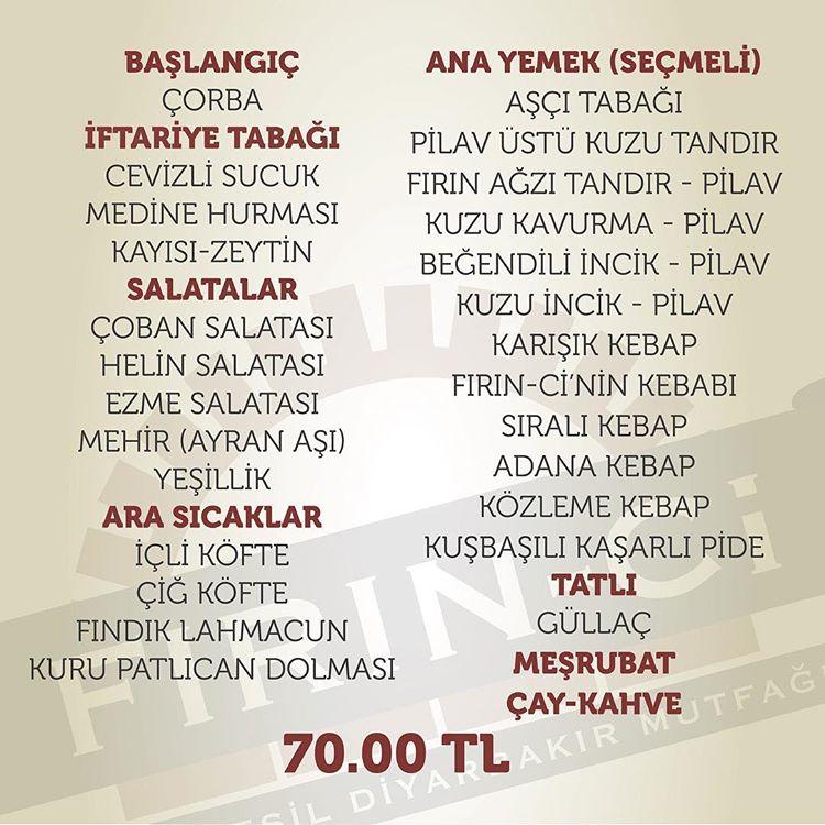 firinci sur diyarbakır'da iftar menüleri diyarbakır ramazan menüleri diyarbakır iftar menüleri fiyatları
