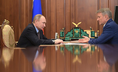 Vladimir Putin, German Gref in Kremlin.