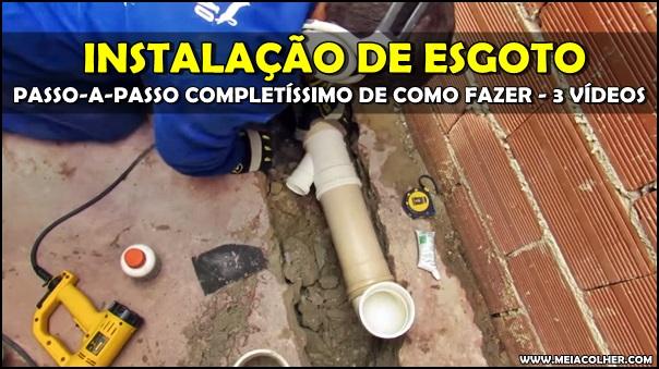 instalação de tubos de esgoto