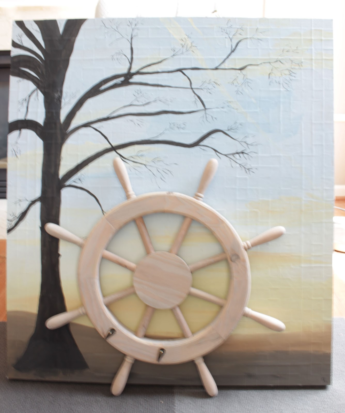 wooden ship wheel for home decor