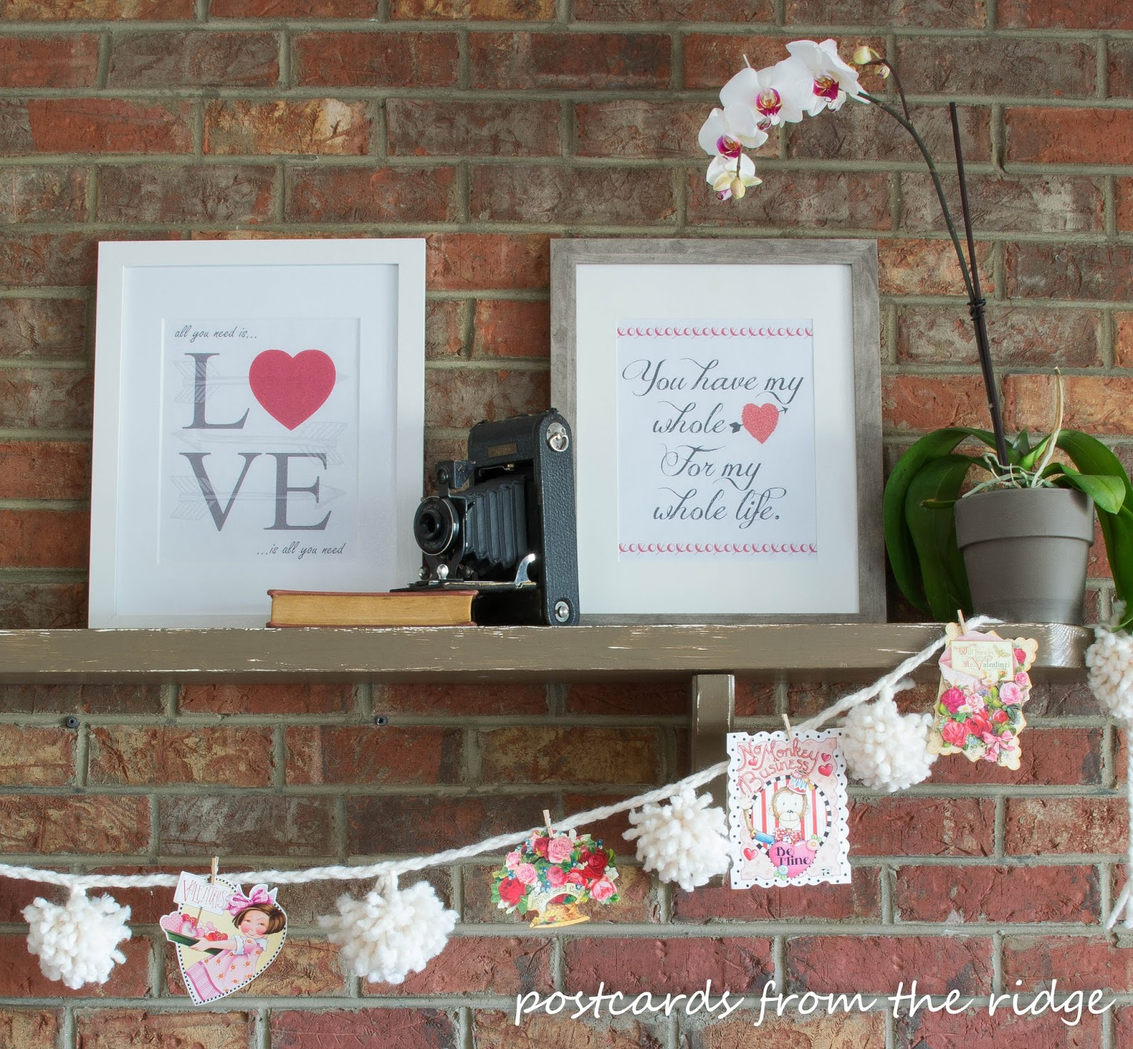 I love this free Valentine's printable artwork. Postcards from the Ridge.