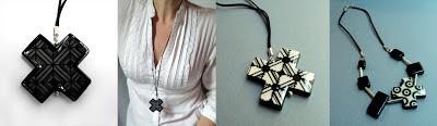 bijoux contemporains en forme de croix et design noir et blanc