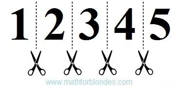 Разрезание графического символа. Разделение числа на цифры. Математика для блондинок.