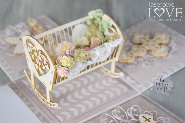 tekturki na Chrzest Święty kołyska 3D