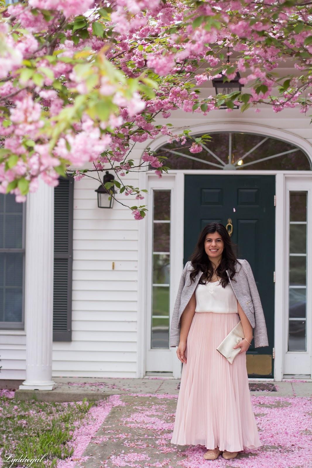 blush pleated maxi skirt, lace cami, striped blazer, scalloped clutch