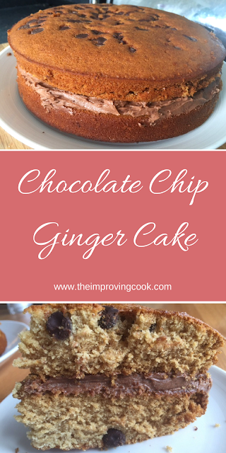 The Improving Cook- Chocolate Chip Ginger Cake pinnable image