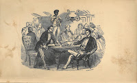 Frontispiece from Clotelle, showing a room of wealthy white men seated around a table and an African-American standing on the table.