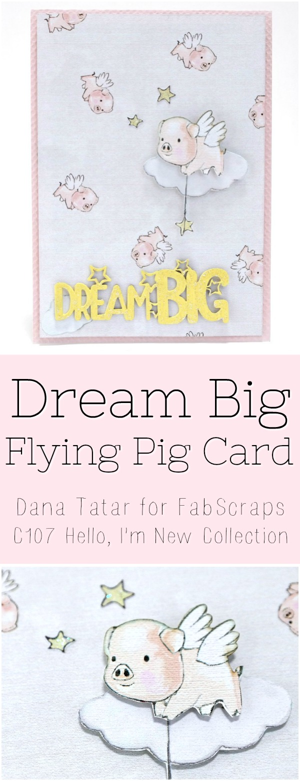 Dream Big Flying Pig Card Tutorial by Dana Tatar for FabScraps
