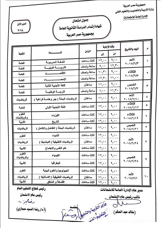 جدول امتحانات الصف الثالث الثانوي 2018
