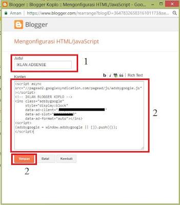 Cara memasang iklan google adsense melalui widget