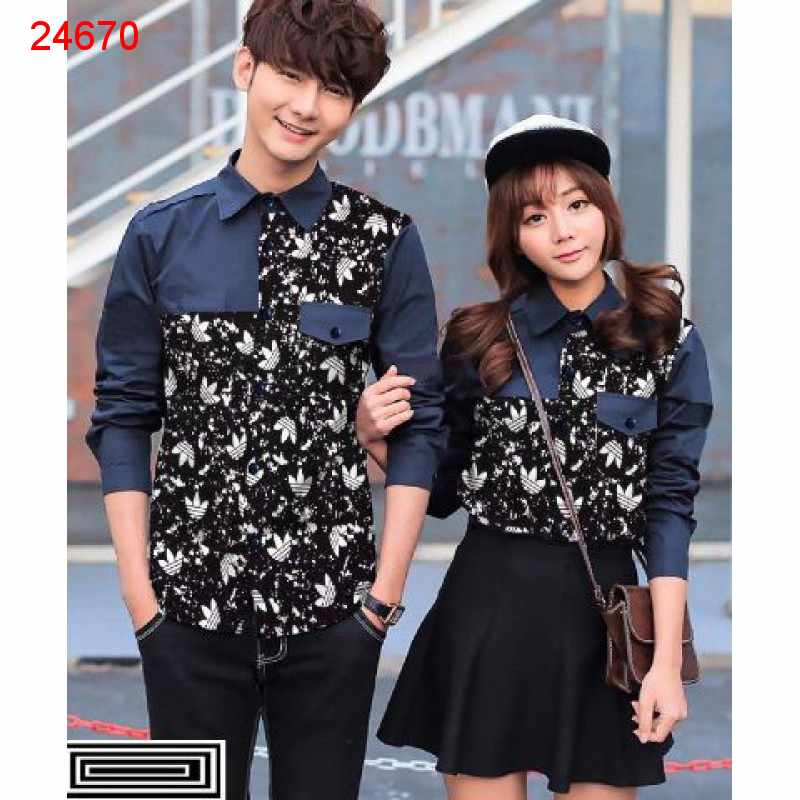 Jual Kemeja Couple Adidas Pocket Navy - 24670