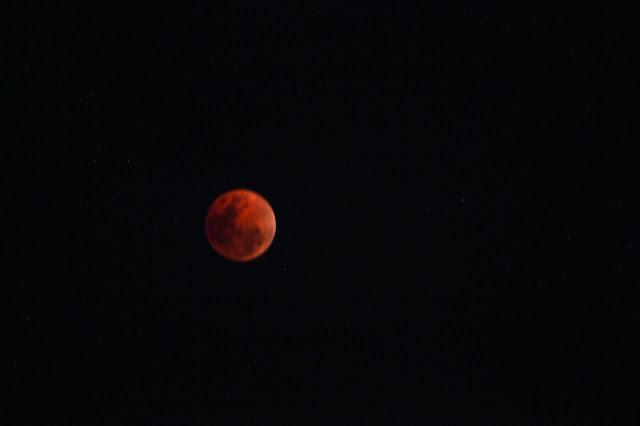 Mặt Trăng chuyển màu đỏ cam trên bầu trời Quận 2, Thành phố Hồ Chí Minh. Hình ảnh: Xíu Quỳnh.