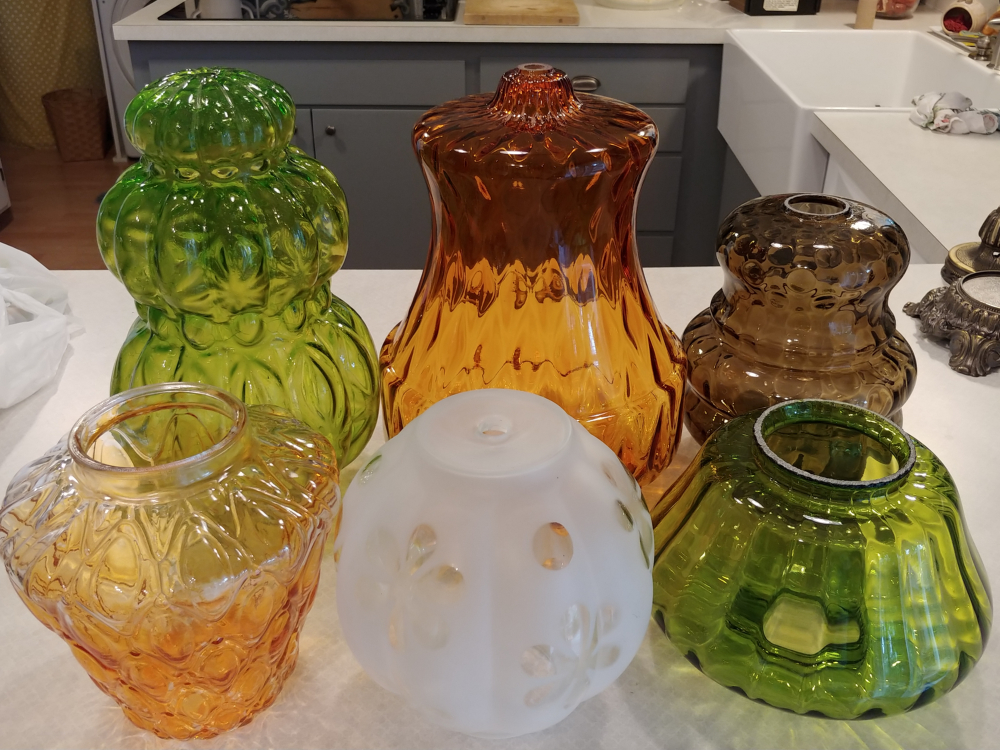 vintage colored lamp globes