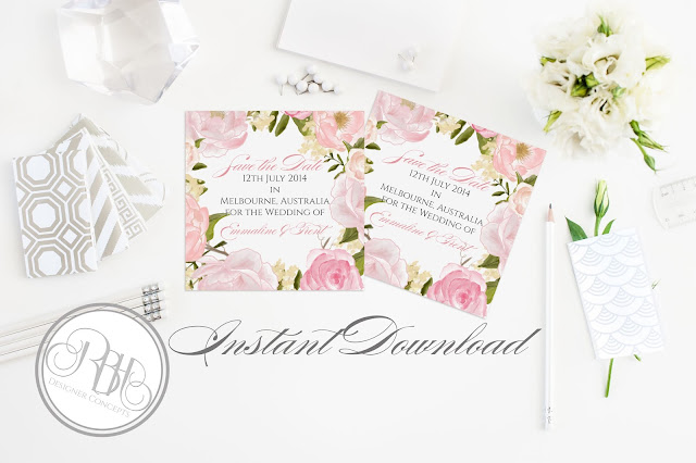 Dusty Pink Peonies, Roses, Save the Date, template