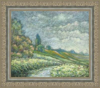 Paintings by Ivan Krutoyarov. Radonezh. Pazha River. Landscape, impressionism, river, flowering meadow, flowers