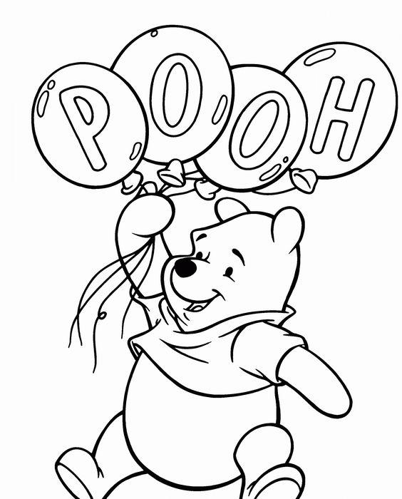 Tranh cho bé tô màu gấu Pooh 2