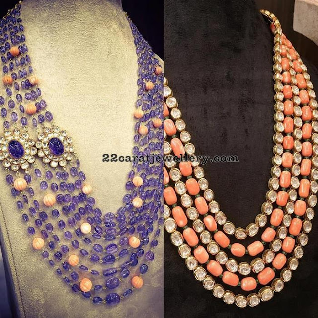 Coral and Sapphire Beads Long Chain