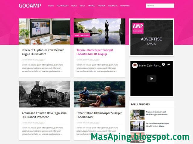 Template blogger SEO Ready terbaik 2018 Goo AMP Gratis