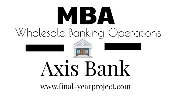MBA Project Report on Wholesale Banking Operations in Axis
