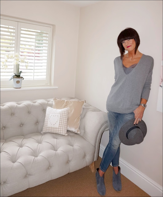 My Midlife Fashion, Hope Fashion the deep vee slouch pop on knit, modern rarity silk lace camisole, zara distressed skinny jeans, felt fedora hat, hush thornton ankle boots