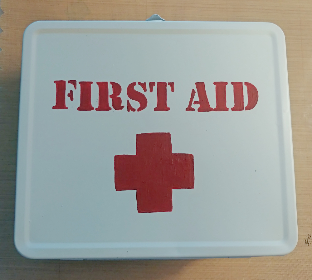 hand painted first aid kit