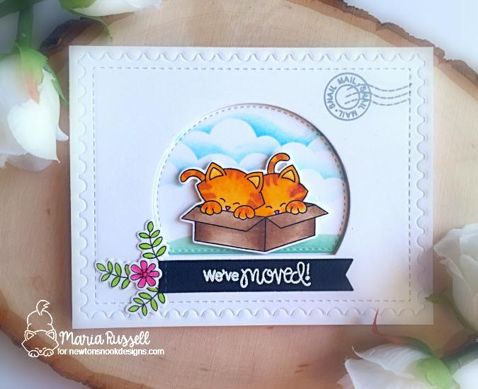 We've Moved Card by Maria Russell | Cats and Boxes | Newton Loves Boxes Stamp Set and Framework Die Set by Newton's Nook Designs #newtonsnook