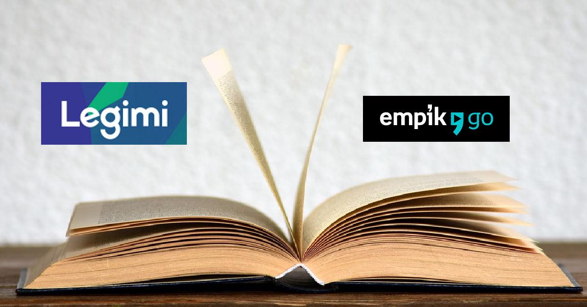 loga abonamentów na e-booki Empik Go i Legimi na tle otwartej ksiązki