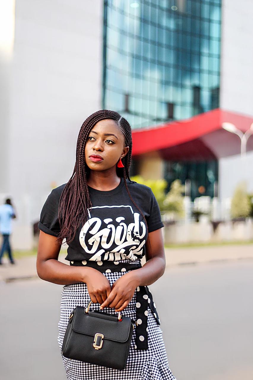 Gingham waterfall skirt and black graphic T-shirt