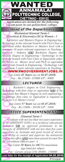 annamalai-polytechnic-college-chettinad-karaikudi-recruitment-hod-office-superintendent-posts-2018
