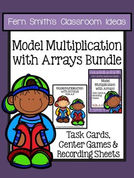 Fern Smith's Classroom Ideas Model Multiplication with Arrays Task Cards, Recording Sheets & Centers at Teacherspayteachers.