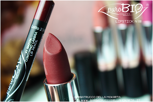 matita n 41 , lipstick n 08 ,  rossetti purobio , lipstick, vegan makeup, bio makeup
