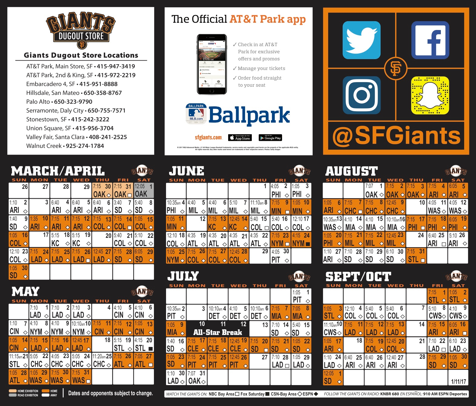 give me a moment a lifestyle: 2017 sf giants baseball schedule
