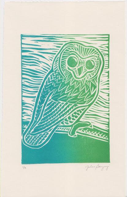 blue green owl block print printmaking