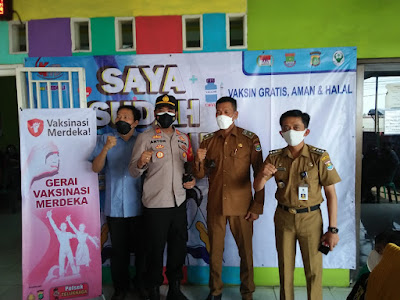 Polsek Teluknaga gelar aksi Serbuan Vaksin Di desa kampung Melayu Barat