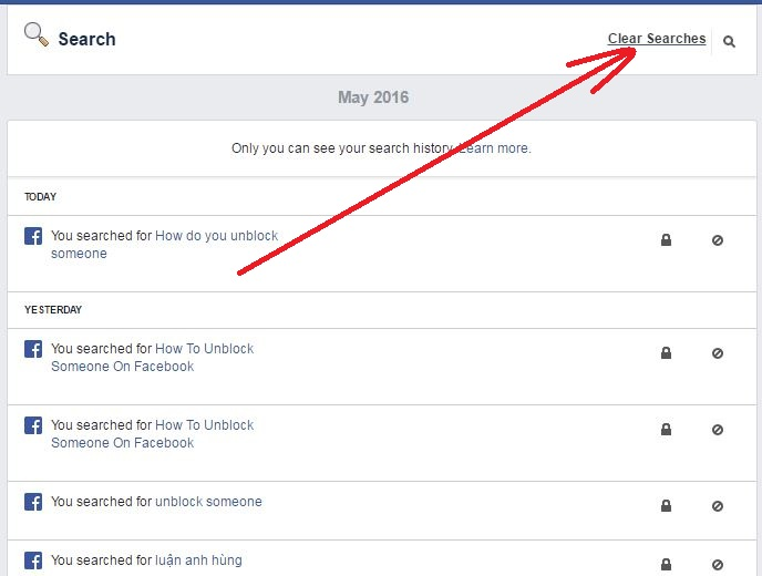 How to delete your activity log on facebook clear facebook search history ccuart Choice Image