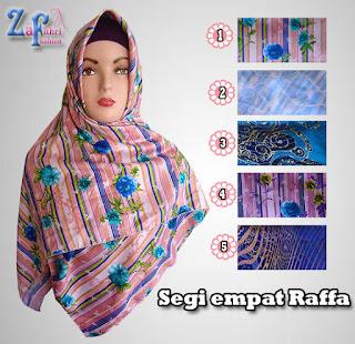 Jual murah jilbab segi empat rafffa motif shabby terbaru