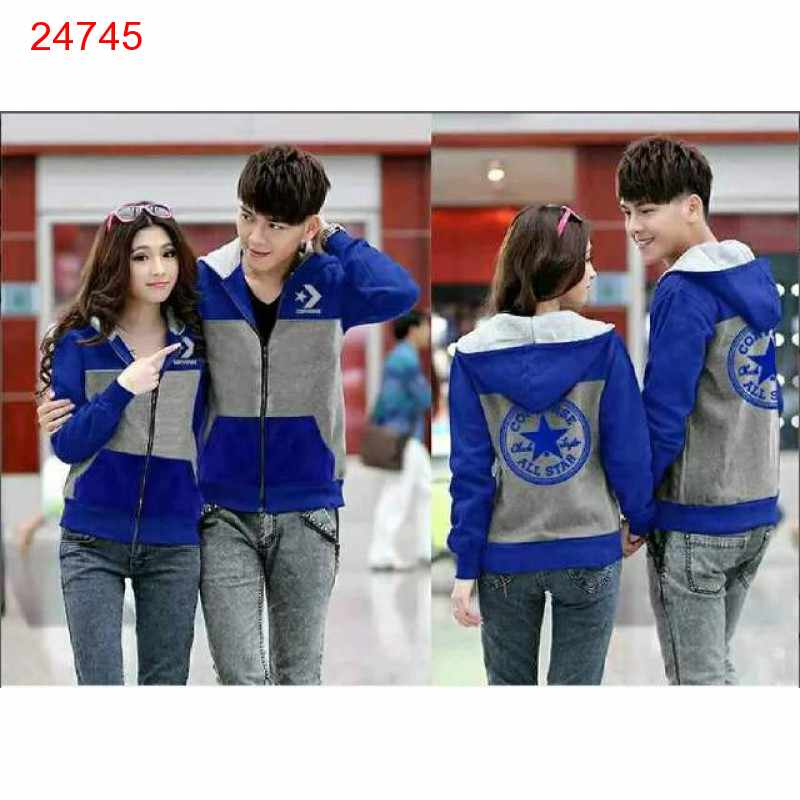 Jual Jacket Couple Jacket Converse Bintang Biru Abu - 24745