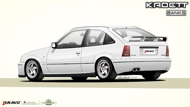 """Imagem mostrando o desenho da traseira do Chevrolet Kadett """"Banks"""""""