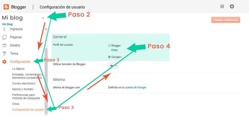 Cambiar perfil de Google+ a perfil de Blogger en sencillos pasos