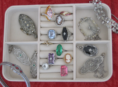 Jewelry travel storage case options: the Mele & Co Giana Plush Fabric Jewelry Box. (For size demonstration purposes, this shot shows the upper tray full of the blogger's jewelry.) Via Diamonds in the Library.
