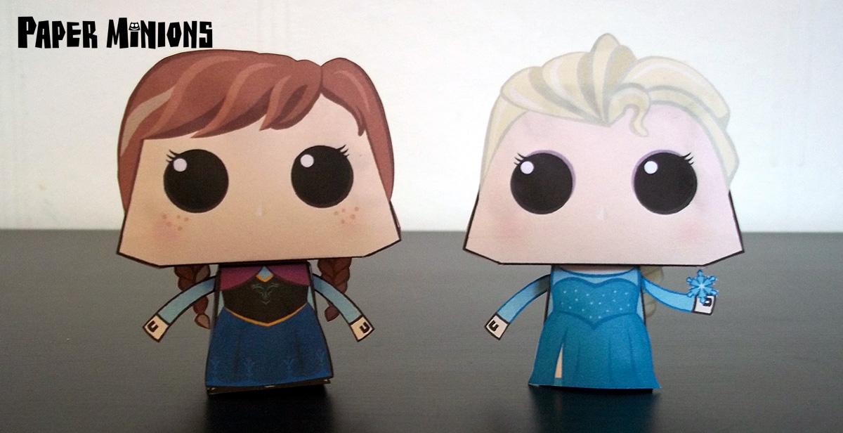Papercraft imprimible y armable de Ana y Elsa de Frozen. Manualidades a Raudales.