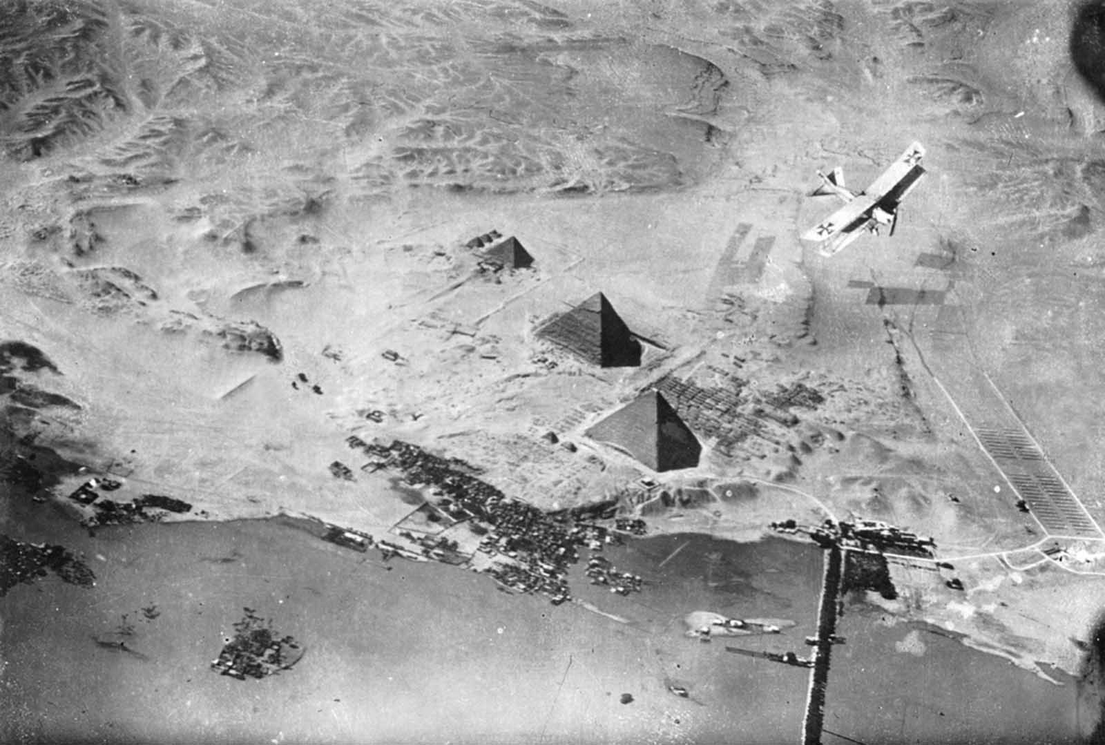 A German airplane over the Pyramids of Giza in Egypt.