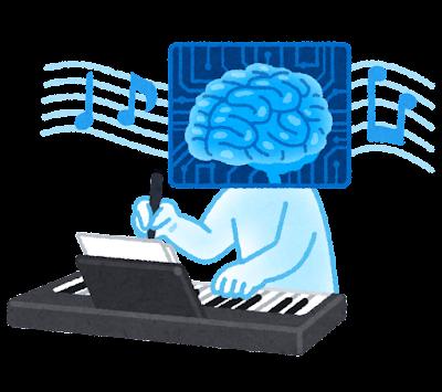作曲する人工知能のイラスト