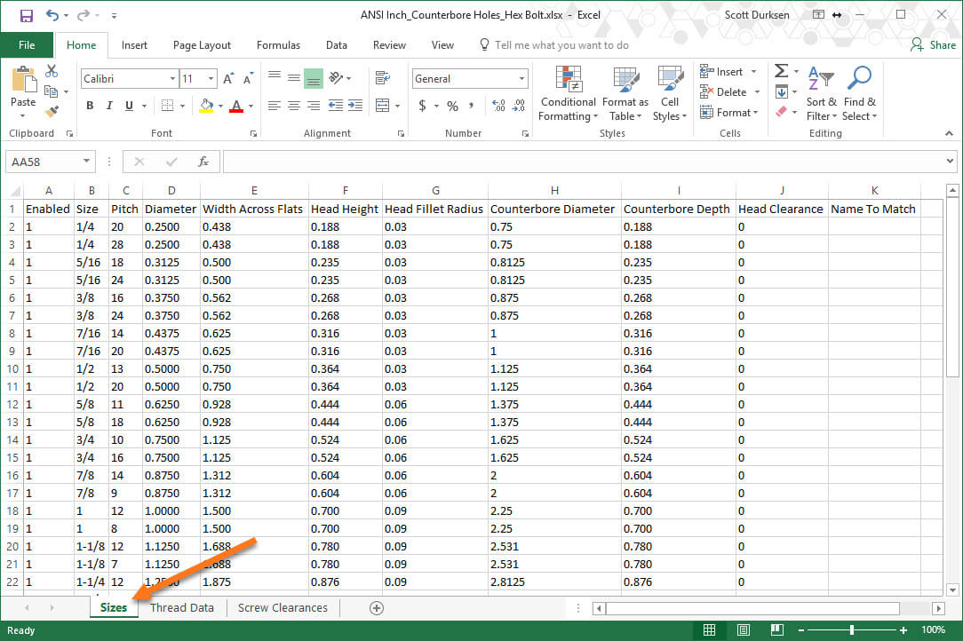 Import and Export Hole Wizard Data with Excel (SOLIDWORKS 2018